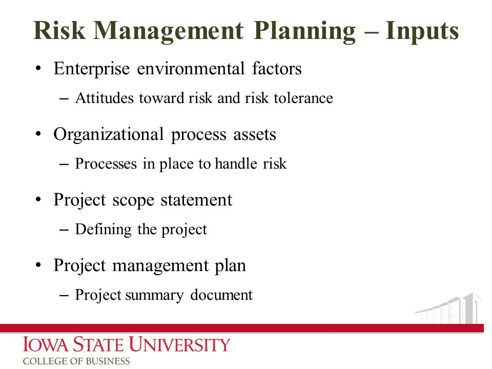Risk Management Planning – Inputs