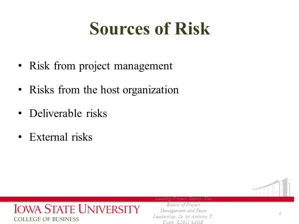 Sources of Risk Risk from project management