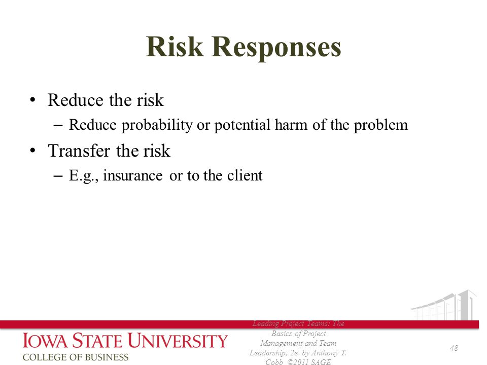 Risk Responses Reduce the risk Transfer the risk