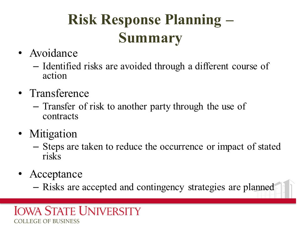 Risk Response Planning – Summary