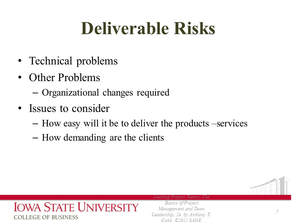 Deliverable Risks Technical problems Other Problems Issues to consider