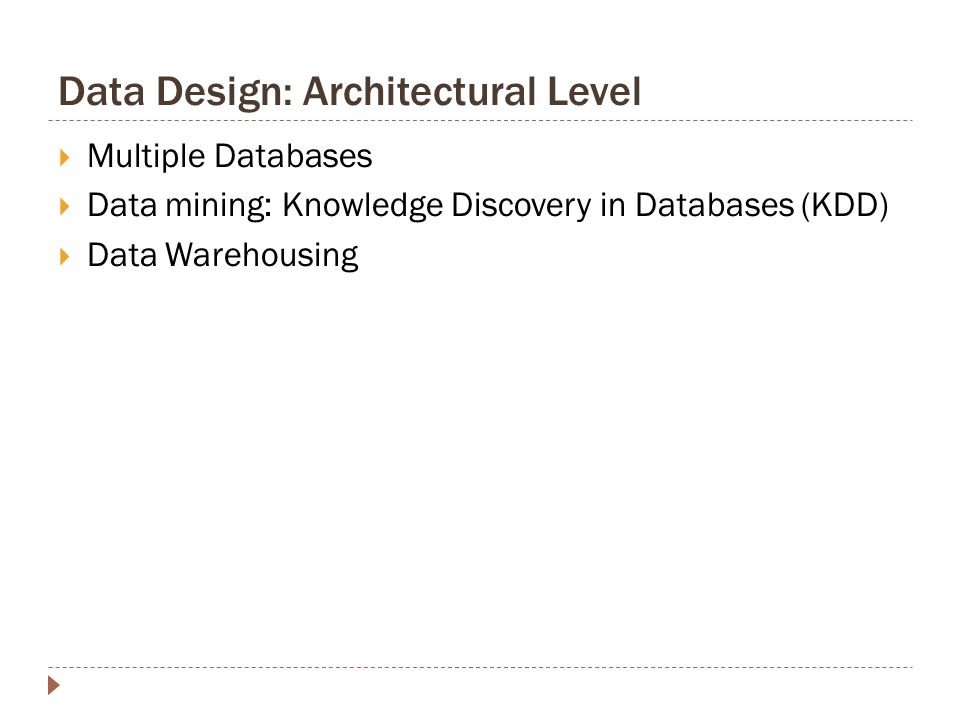 architectural design knowledge. Data Design  Architectural Level Chapter 10 ppt download