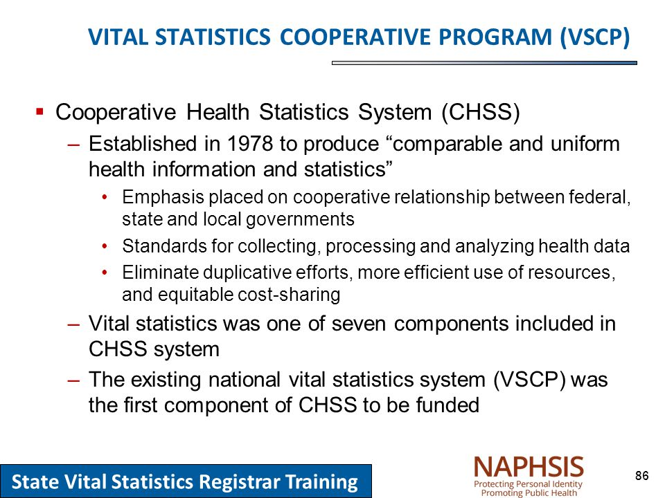 State vital statistics registrar training ppt download 86 vital statistics cooperative program vscp cooperative health statistics system sciox Gallery