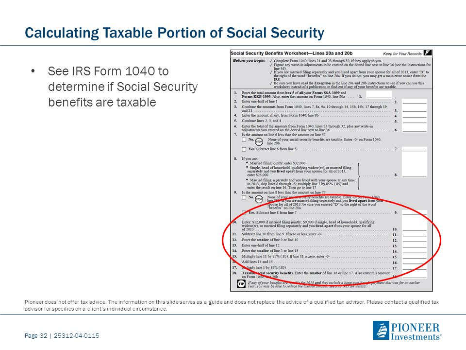 Retirement Income Strategies How Social Security Can Maximize a – Social Security Taxable Worksheet