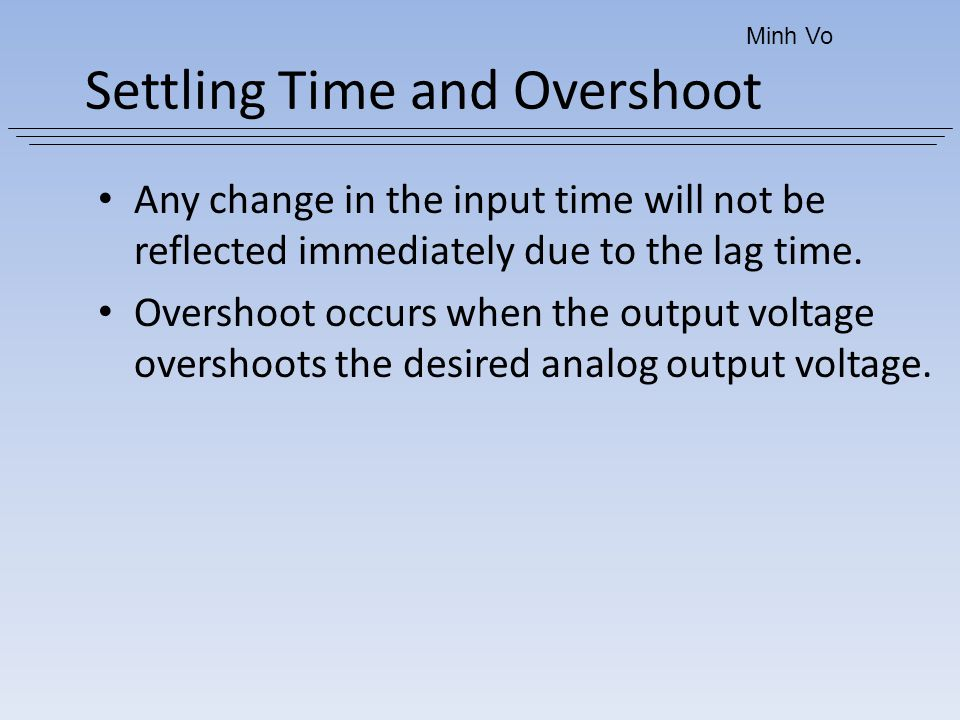 Settling Time and Overshoot