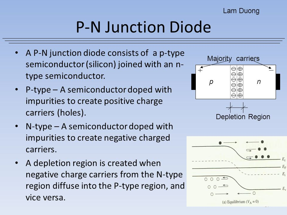 Lam Duong P-N Junction Diode. A P-N junction diode consists of a p-type semiconductor (silicon) joined with an n-type semiconductor.