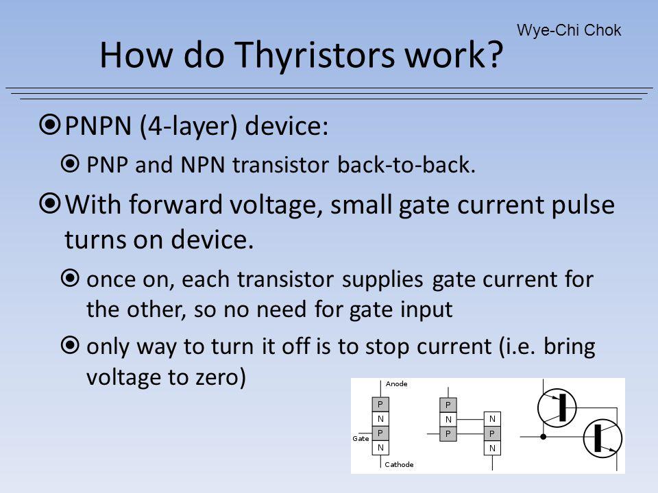 How do Thyristors work PNPN (4-layer) device: