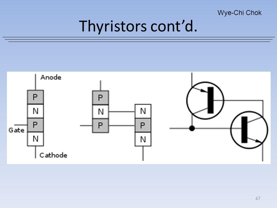Thyristors cont'd. Wye-Chi Chok