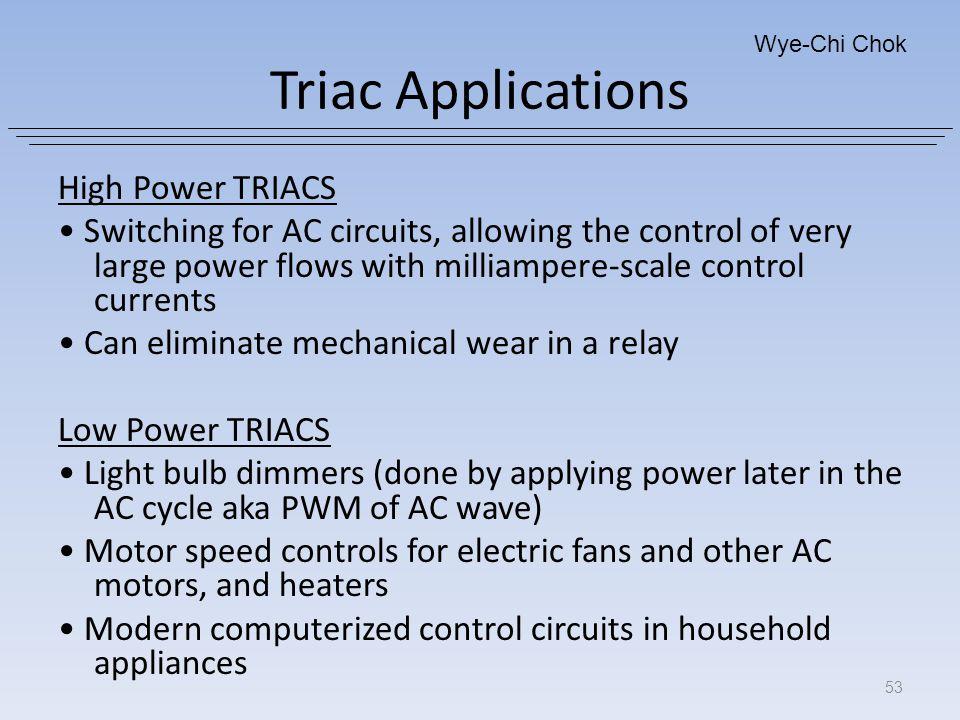 Triac Applications High Power TRIACS
