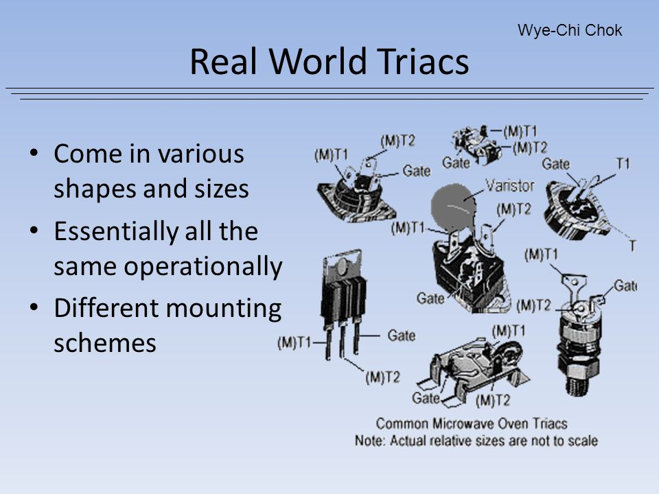Real World Triacs Come in various shapes and sizes