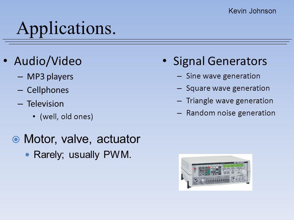 Applications. Audio/Video Signal Generators Motor, valve, actuator