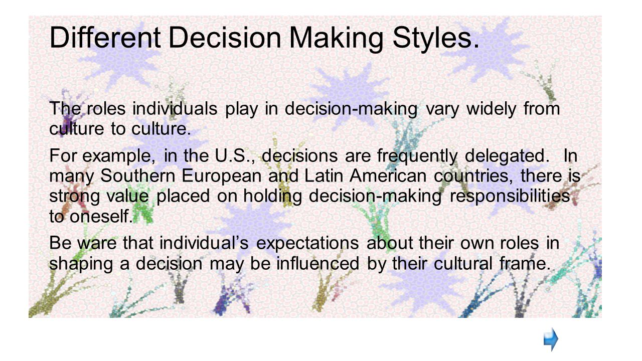 cultural differences in decision making in Differences in moral practices across cultures raise an important issue in ethics -- the concept of ethical relativism ethical relativism is the theory that holds that morality is relative to the norms of one's culture.