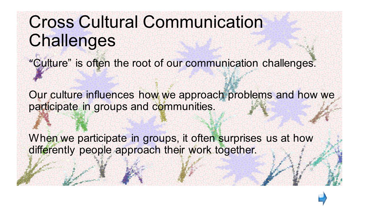 challenges in cross cultural communication and how Issues in cross-cultural communication if we look at communication as a process of coding and decoding of messages (see handout for more details), it is obvious that there are many points in the process where the communication can break down.