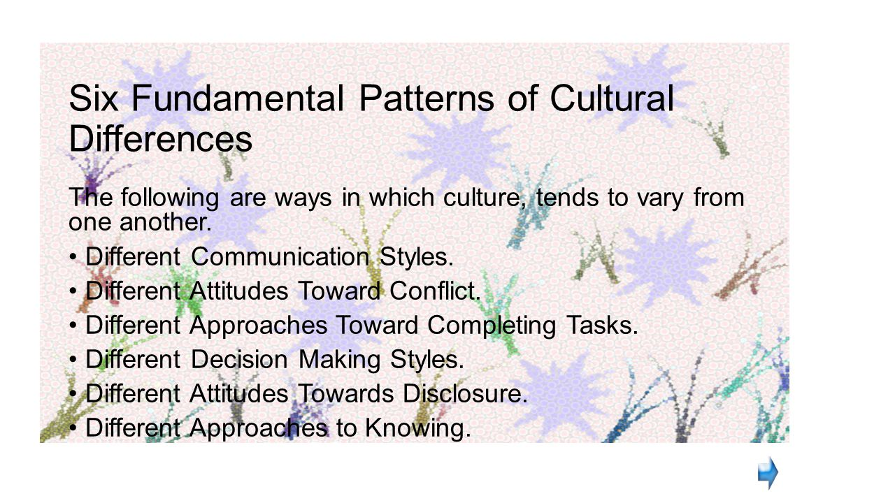 Six Fundamental Patterns of Cultural Differences