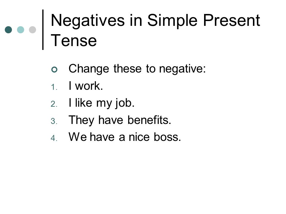 Negatives in Simple Present Tense