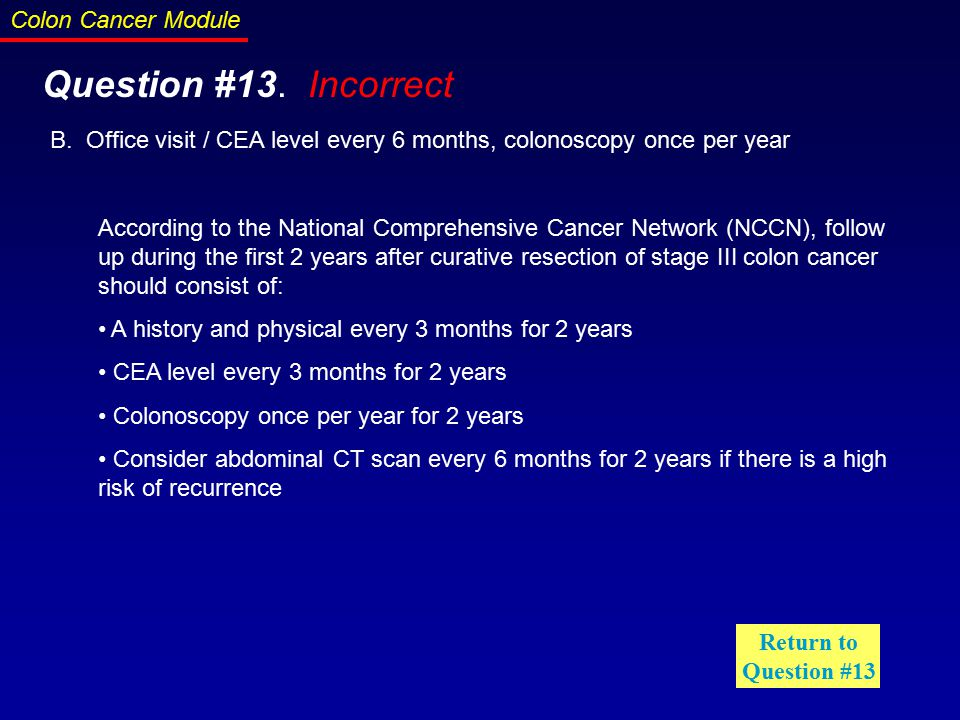 Colon cancer cea level