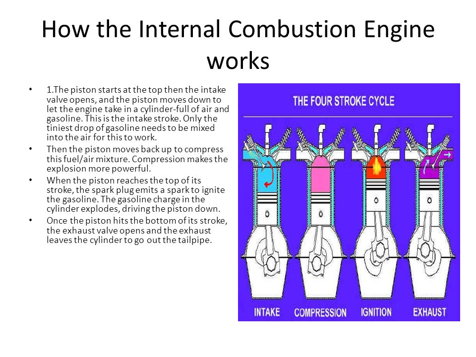 internal combustion engines The main difference between internal and external combustion engine is that, in internal combustion engines, the working fluid burns inside the cylinder.
