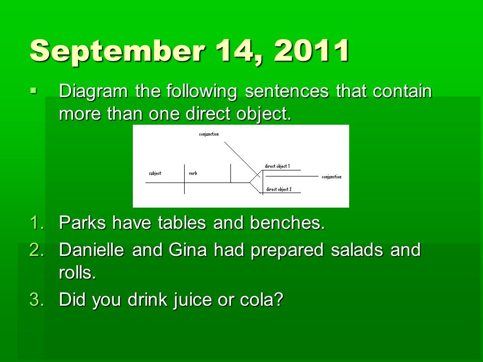 Mrs waids daily language drills ppt download september 14 2011 diagram the following sentences that contain more than one direct object ccuart Image collections