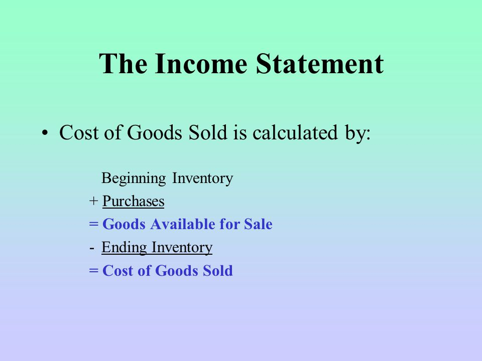 The Income Statement Cost of Goods Sold is calculated by: