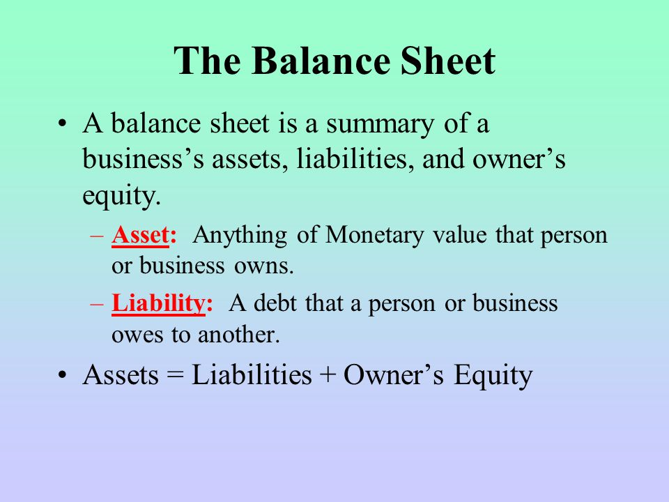 The Balance Sheet A balance sheet is a summary of a business's assets, liabilities, and owner's equity.