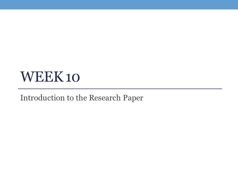 introductions to a research paper