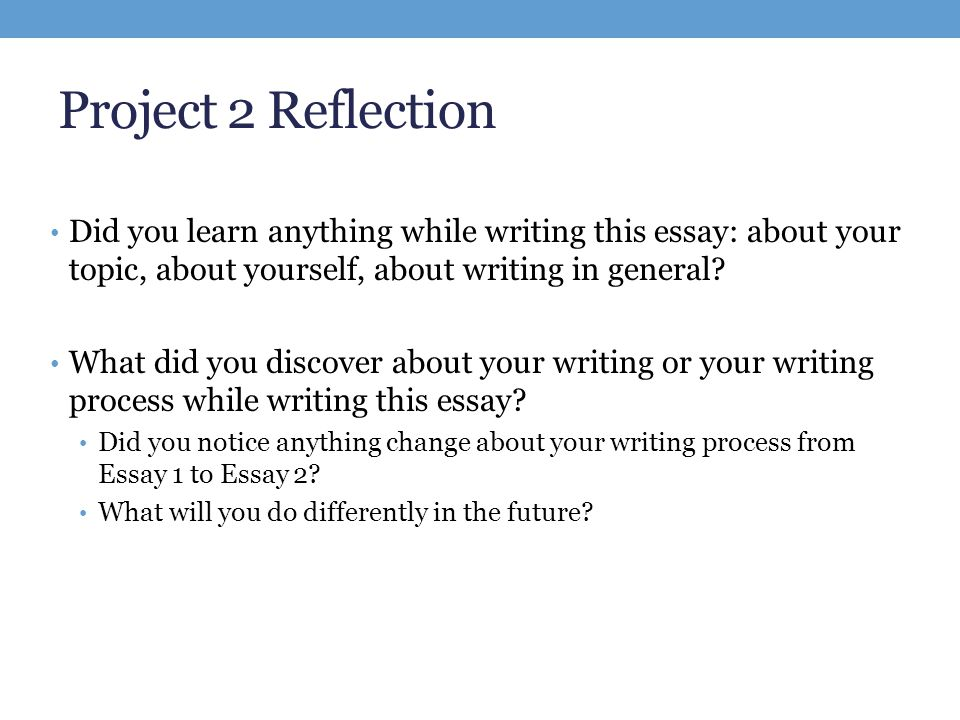 Write reflective essay group project