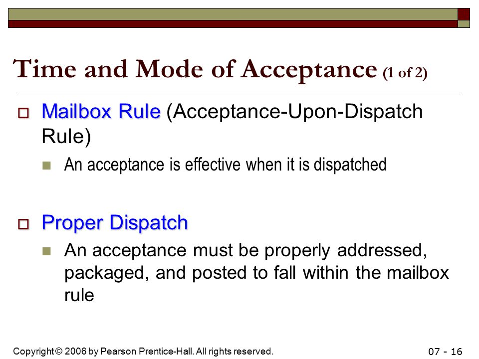 rules of offer and acceptance General rules as to communication of acceptance the general rules relating to communication of acceptance are the following: in case of acceptance by post: where the.