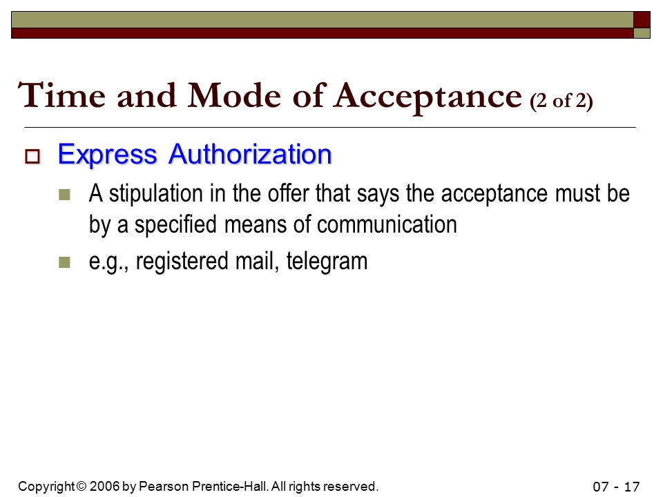 Time and Mode of Acceptance (2 of 2)