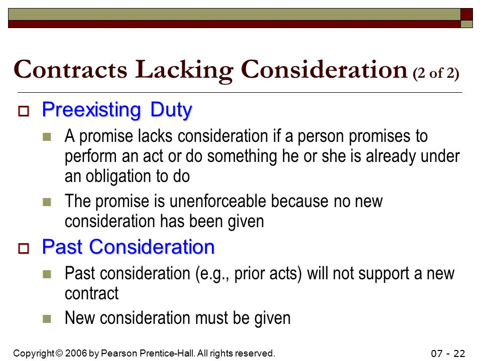 Contracts Lacking Consideration (2 of 2)