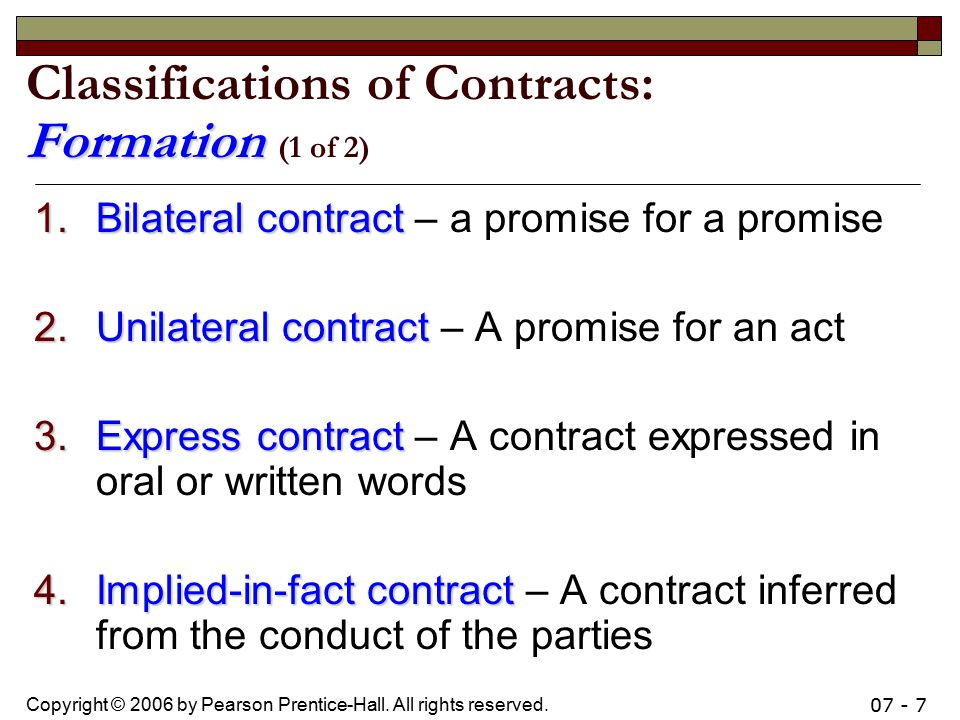 Classifications of Contracts: Formation (1 of 2)