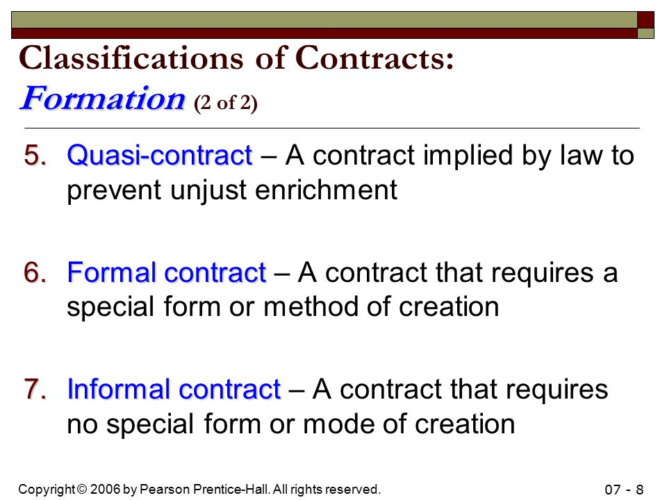 Classifications of Contracts: Formation (2 of 2)