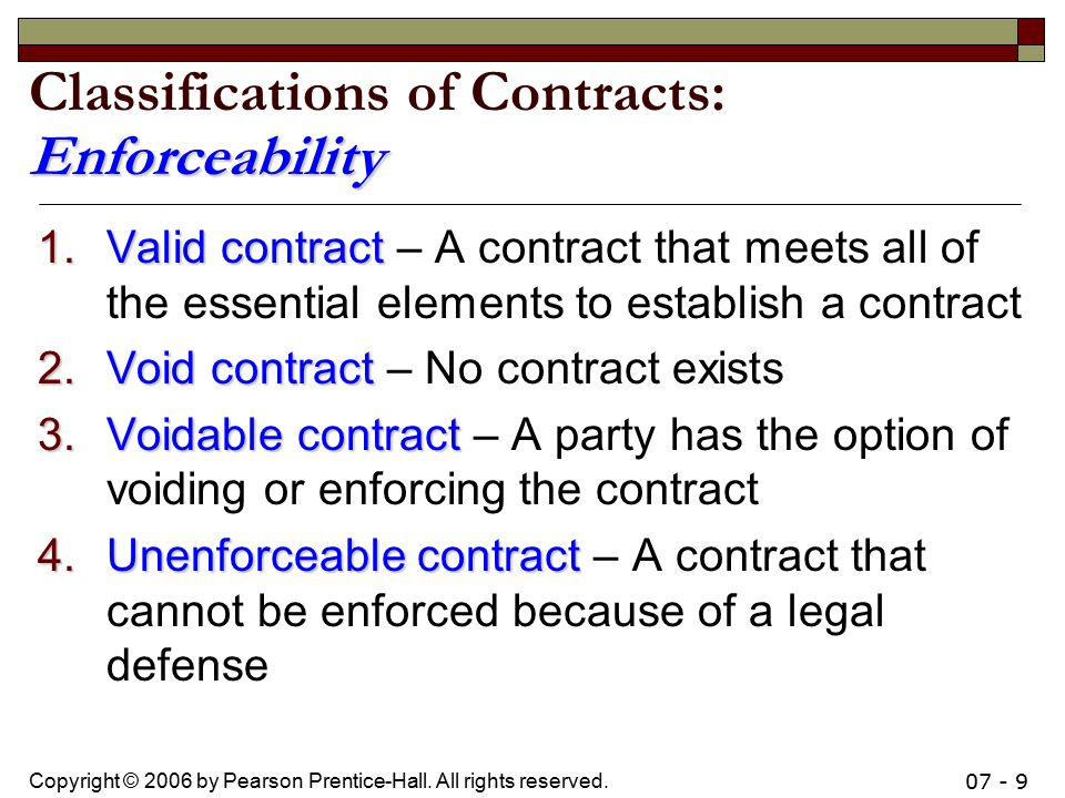 Classifications of Contracts: Enforceability