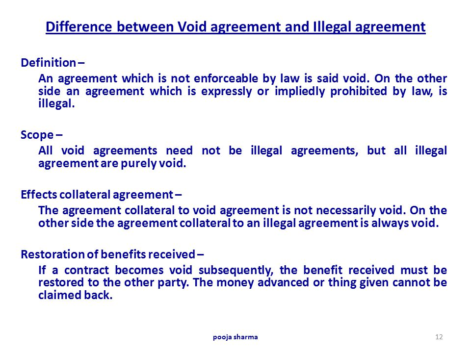 Effect of Illegality in Contracts