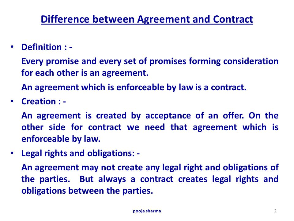 Difference Between  Agreement  Contract   Ppt Video Online