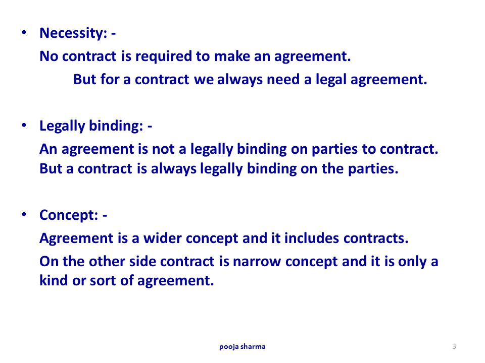 No Contract Is Required To Make An Agreement.