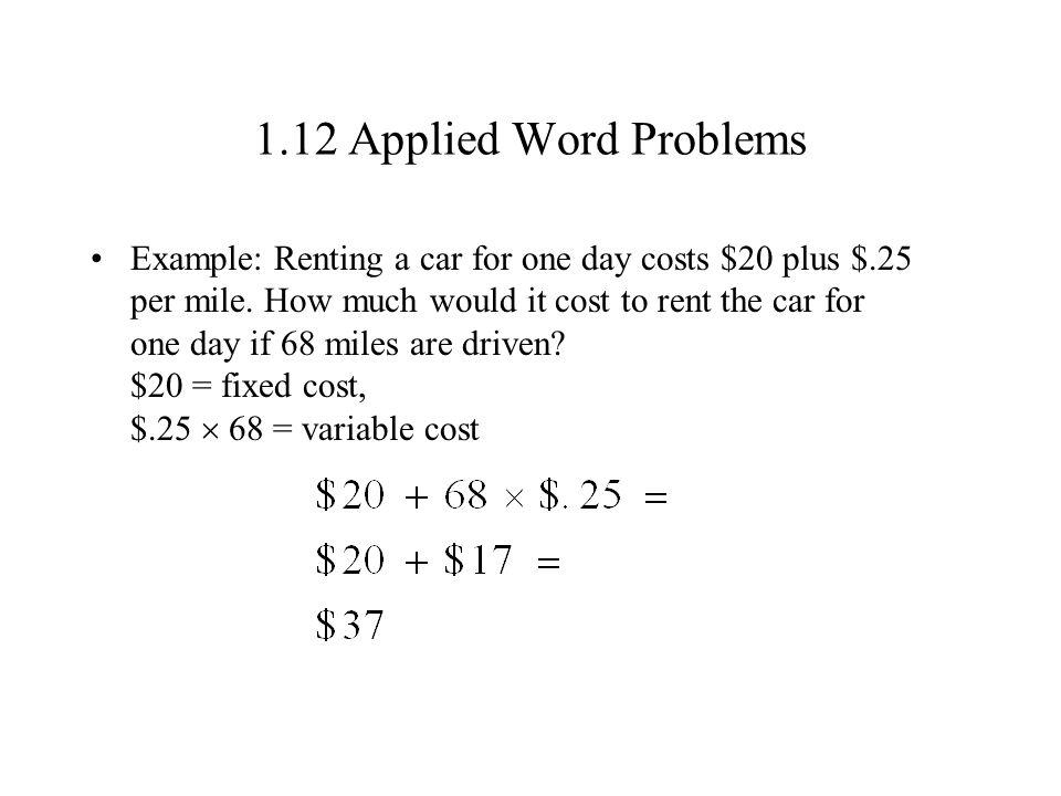1.12 Applied Word Problems