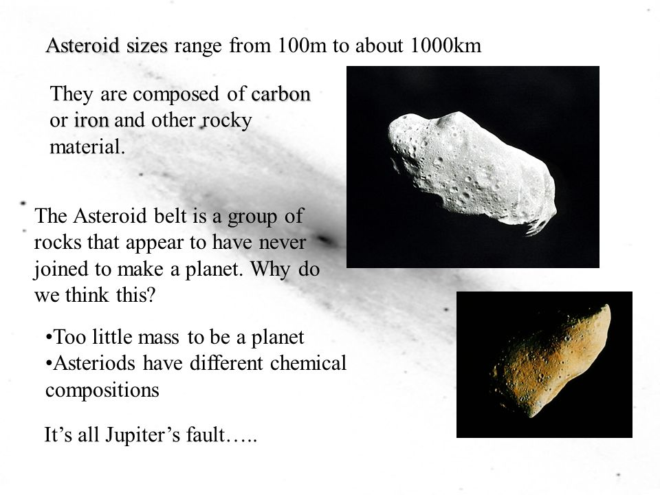 Asteroid sizes range from 100m to about 1000km