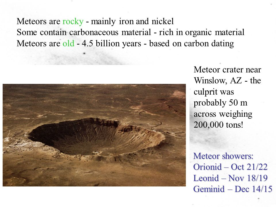 Meteors are rocky - mainly iron and nickel