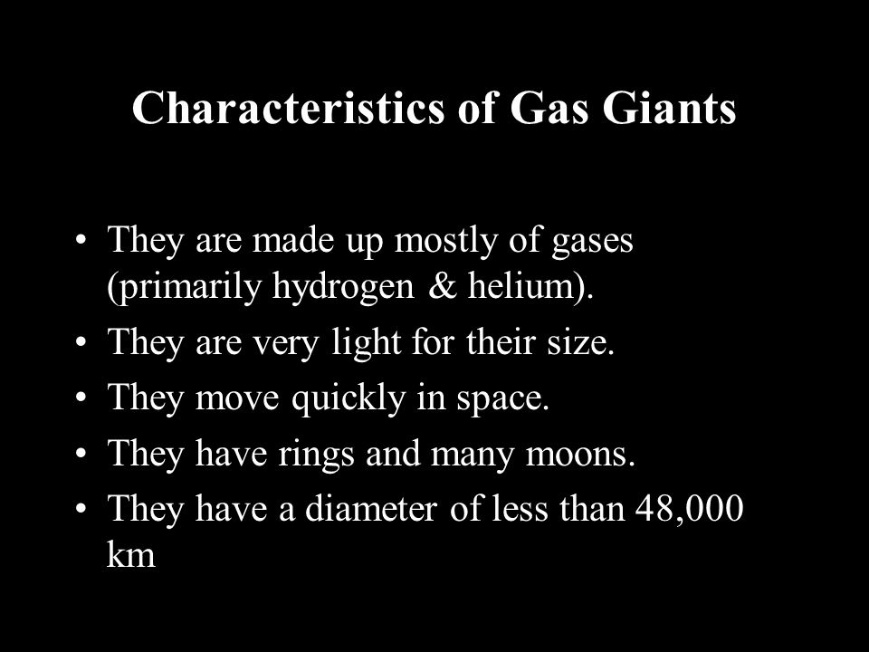 Characteristics of Gas Giants