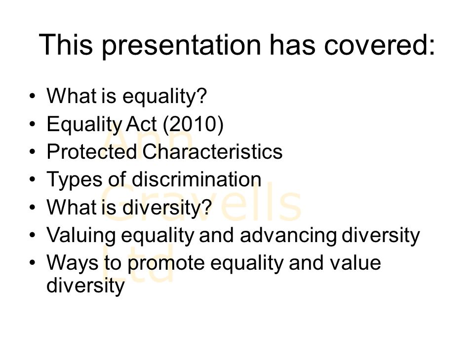 ways to promote equality and diversity Equality, diversity and inclusion in work with children and young people 11 areas of legislation are ever changing but it is important to be able to identify current and relevant aspects of those which promote equality and value diversity.