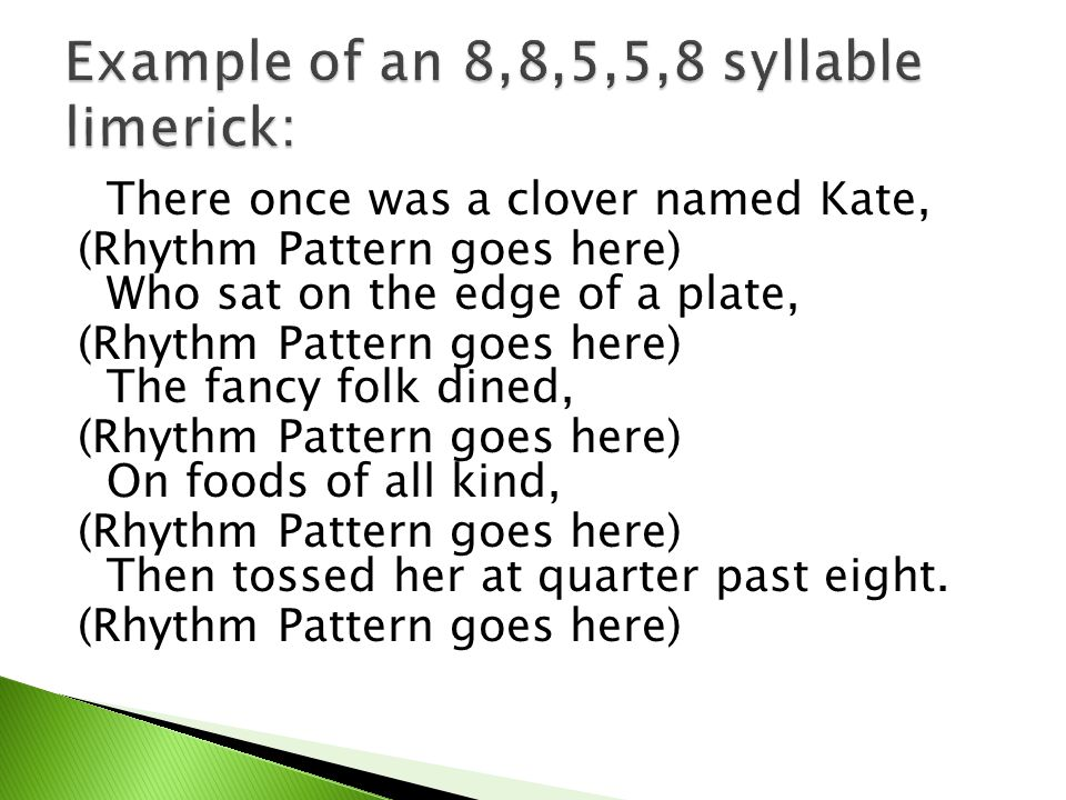 Example of an 8,8,5,5,8 syllable limerick: