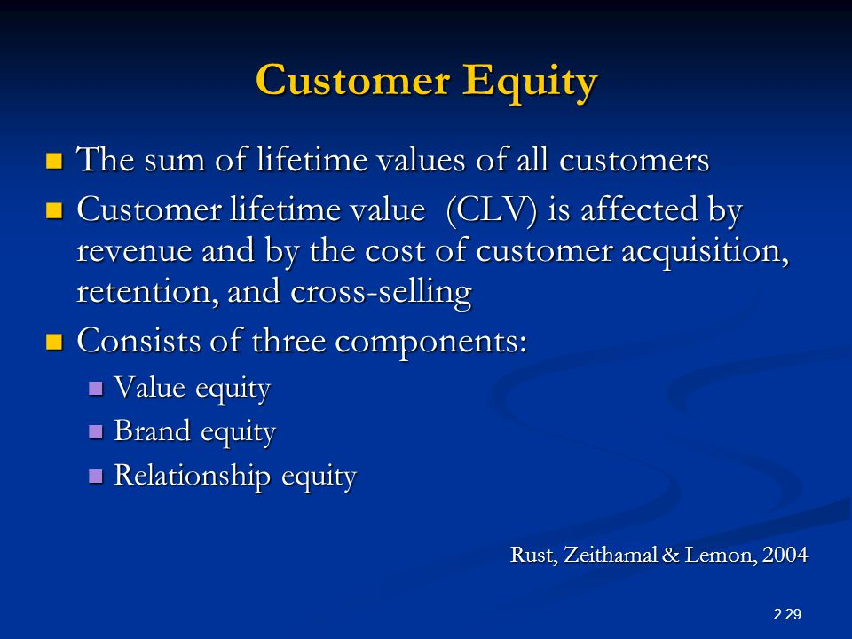 value brand and relationship equity