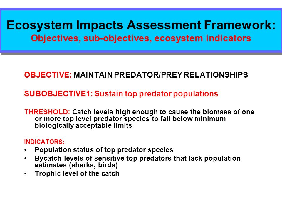 Ecosystem Impacts Assessment Framework: Objectives, sub-objectives, ecosystem indicators