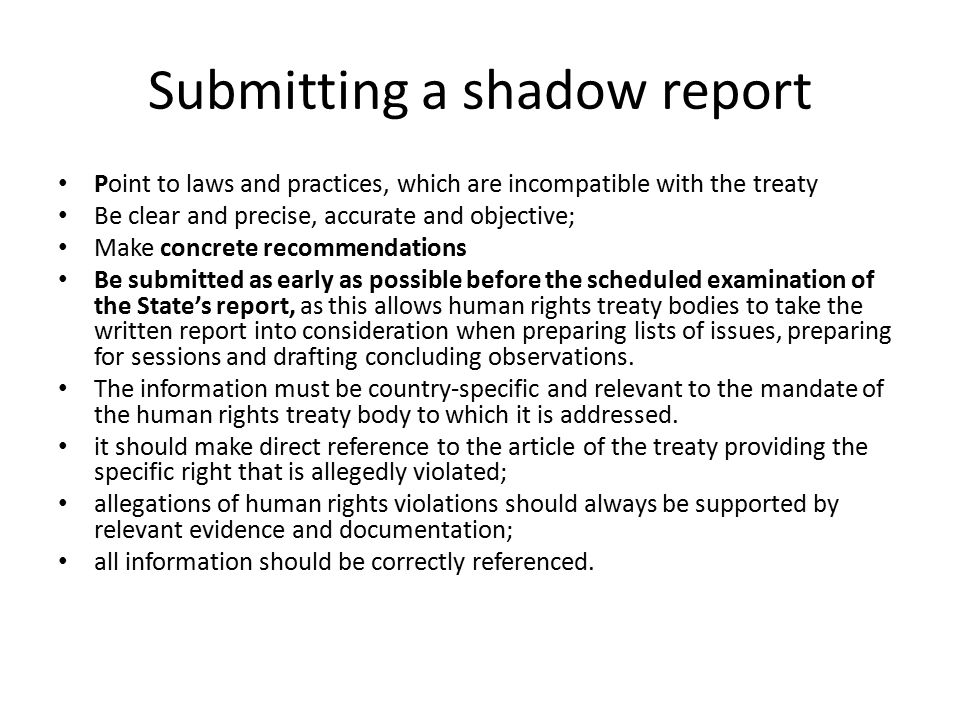 Submitting a shadow report