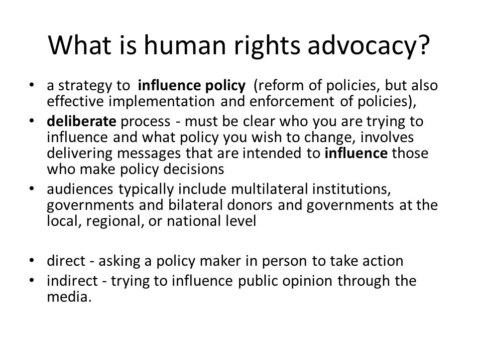 What is human rights advocacy