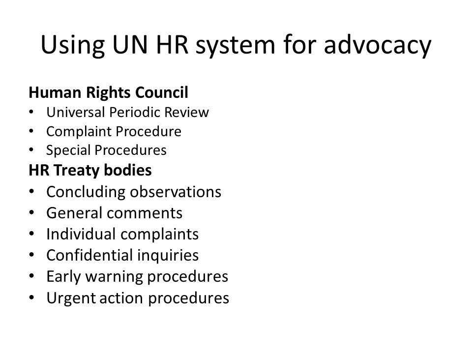 Using UN HR system for advocacy