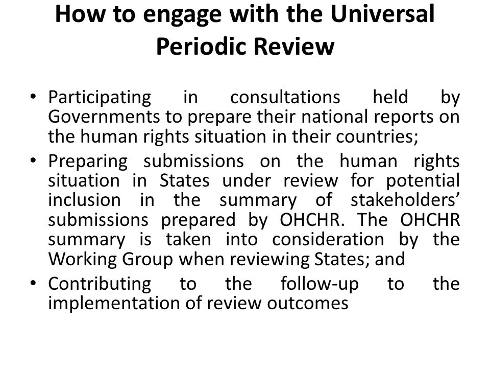 How to engage with the Universal Periodic Review