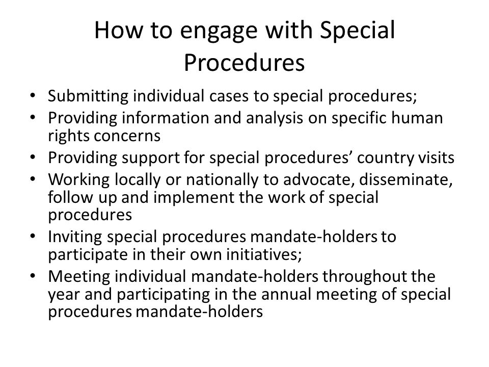 How to engage with Special Procedures