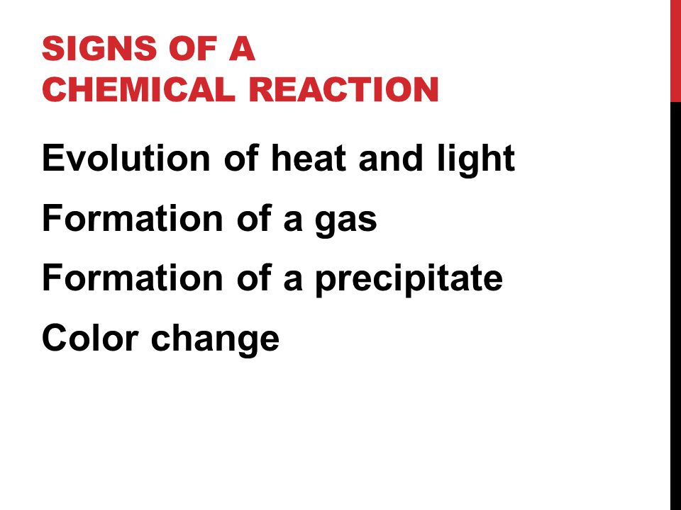 Signs of a Chemical Reaction