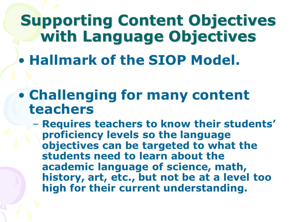 Writing Language and Content Objectives - ppt download